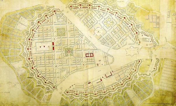 Карта Петербурга. Звездный форт.