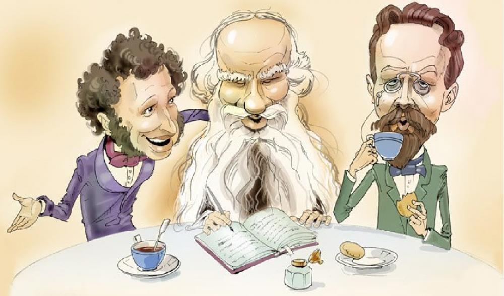 Карикатура на Пушкина, Толстого, Чехова.