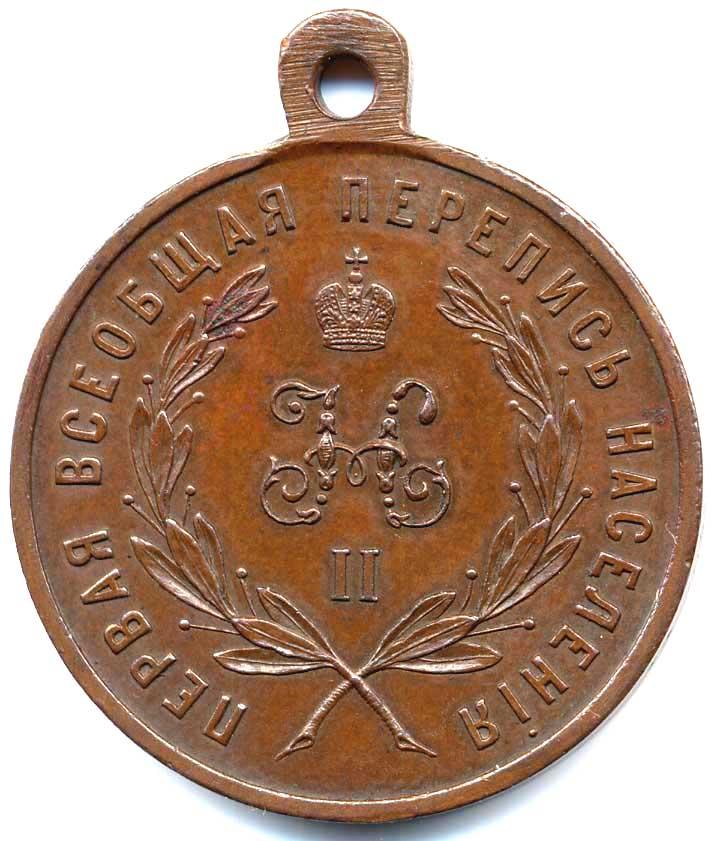 """Медаль """"За труды по первой всеобщей переписи населения""""."""