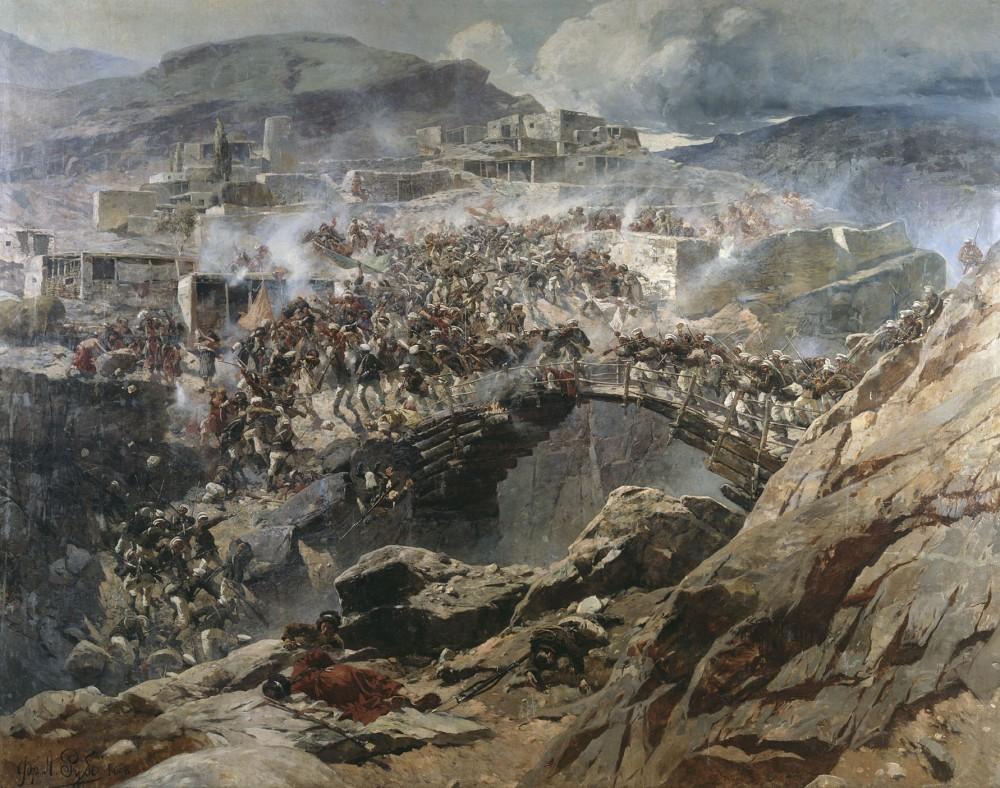 Штурм аула Ахульго», фрагмент, Франц Алексеевич Рубо 1891 г.
