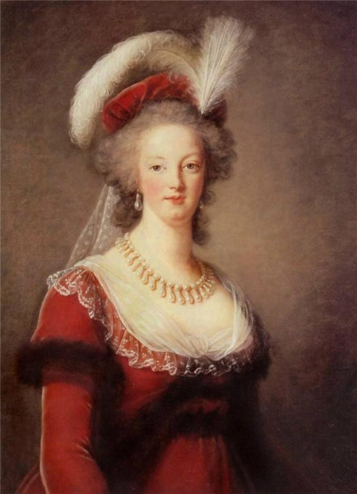 Портрет Французской Королевы Марии Антуаннеты в жемчужном ожерелье и серьгах.