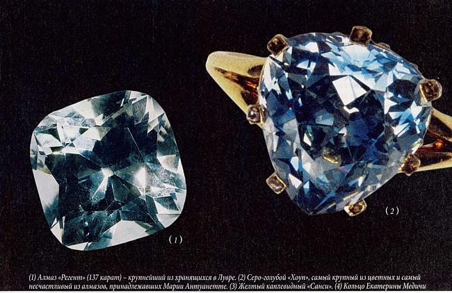 № 2 – серо-голубой «Хоуп», самый крупный из цветных алмазов, принадлежавших Марии Антуанетте.
