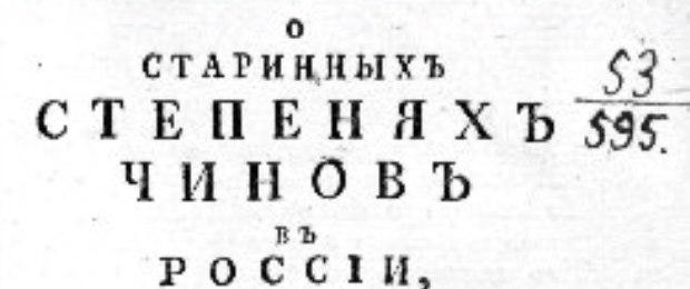 Старинные степени чины, 1784 год. Якобы. Все тири летоисчисления - сразу!
