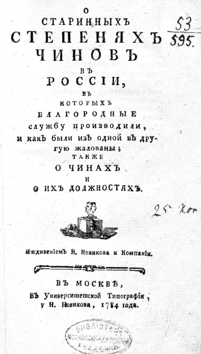 О старинных степенях чинов в России.