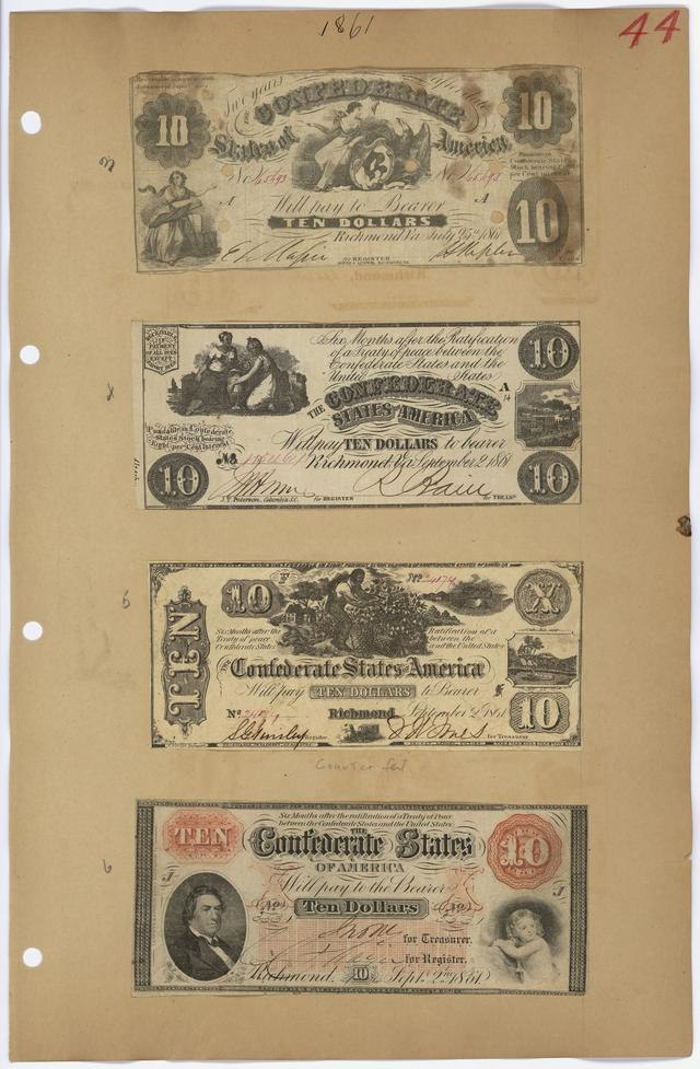Деньги Решают Все. Денежные знаки времён Гражданской войны в США 1861-1865 гг.