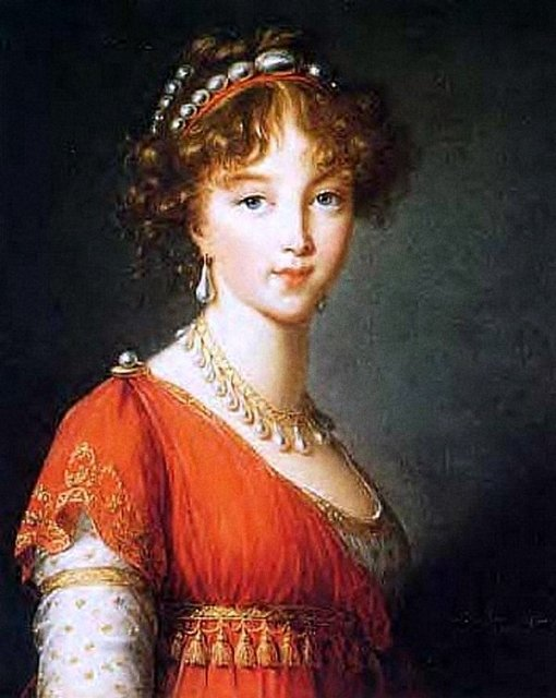Елизавета Алексеевна, жена Александра 1, в том же самом жемчужном колье Марии Антуанетты.