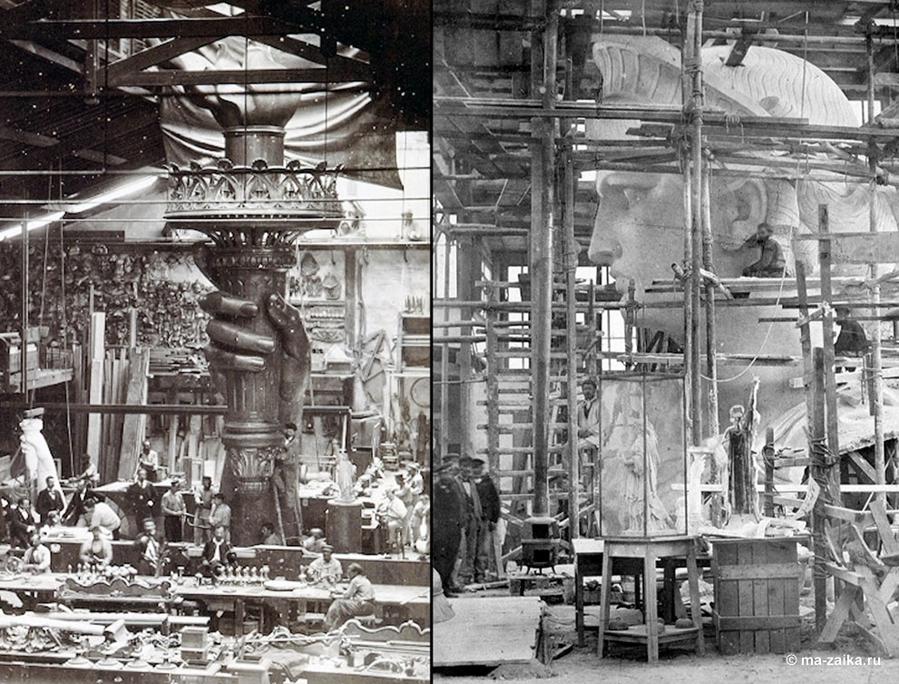 Справа: Голова статуи Свободы, внутри студии в Париже, примерно 1880 г.