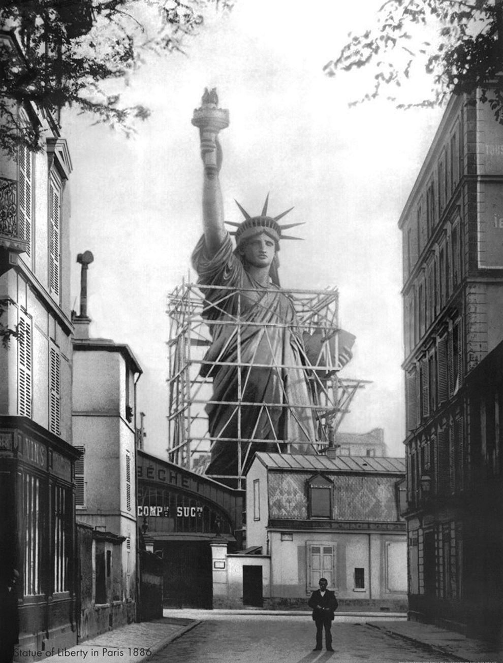 Assembling the Statue of Liberty.