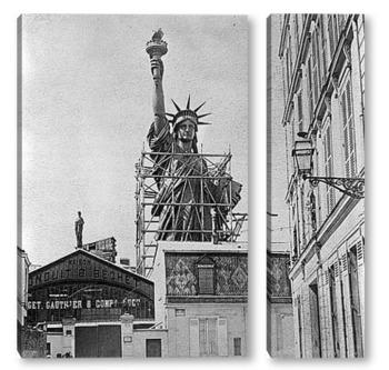 Модульная картина Статуя Свободы в Париже перед отправкой в США, 1887 г.