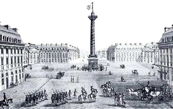 Вандомская колонна с памятником Первому Императору пока ещё в Лютеции. До 1871 года.