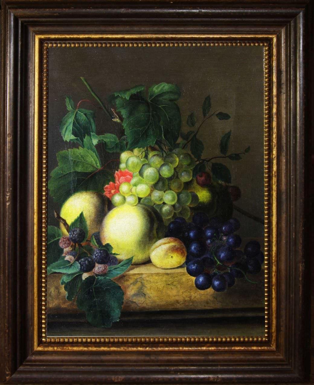 Старинный натюрморт с виноградом и фруктами. Западная Европа, 1869 год.