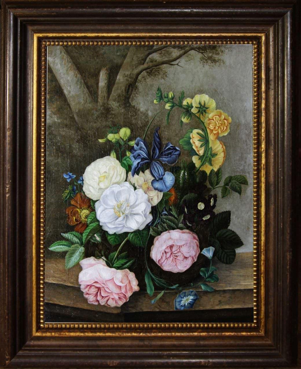 Старинный натюрморт с цветами. Западная Европа, 1821 год.