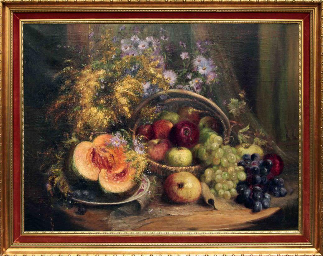 Старинный натюрморт с дыней, яблоками и виноградом. Западная Европа, начало 20 века.