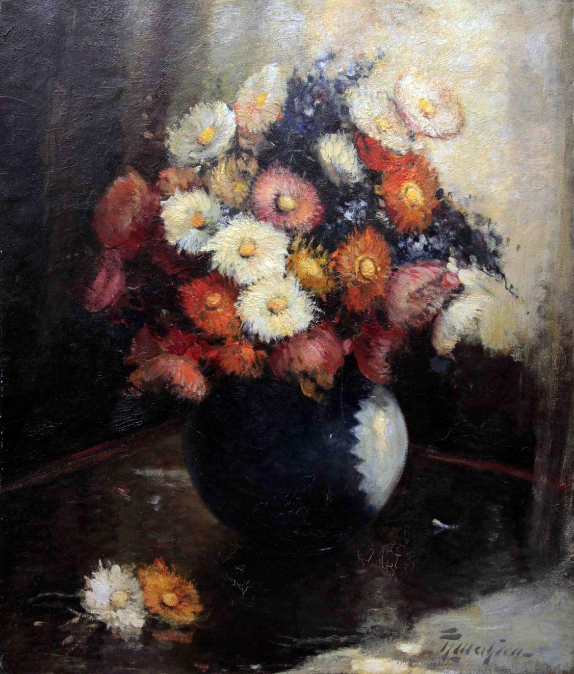 Старинный натюрморт ваза с хризантемами. Западная Европа, начало 20 века.
