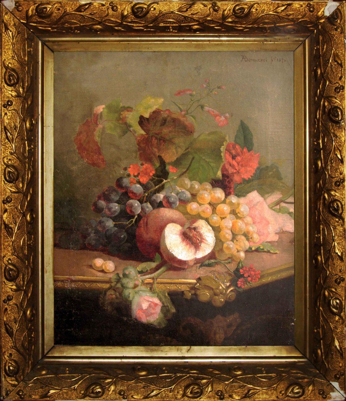 Старинный натюрморт с виноградом и персиками. Западная Европа, 1876 год.
