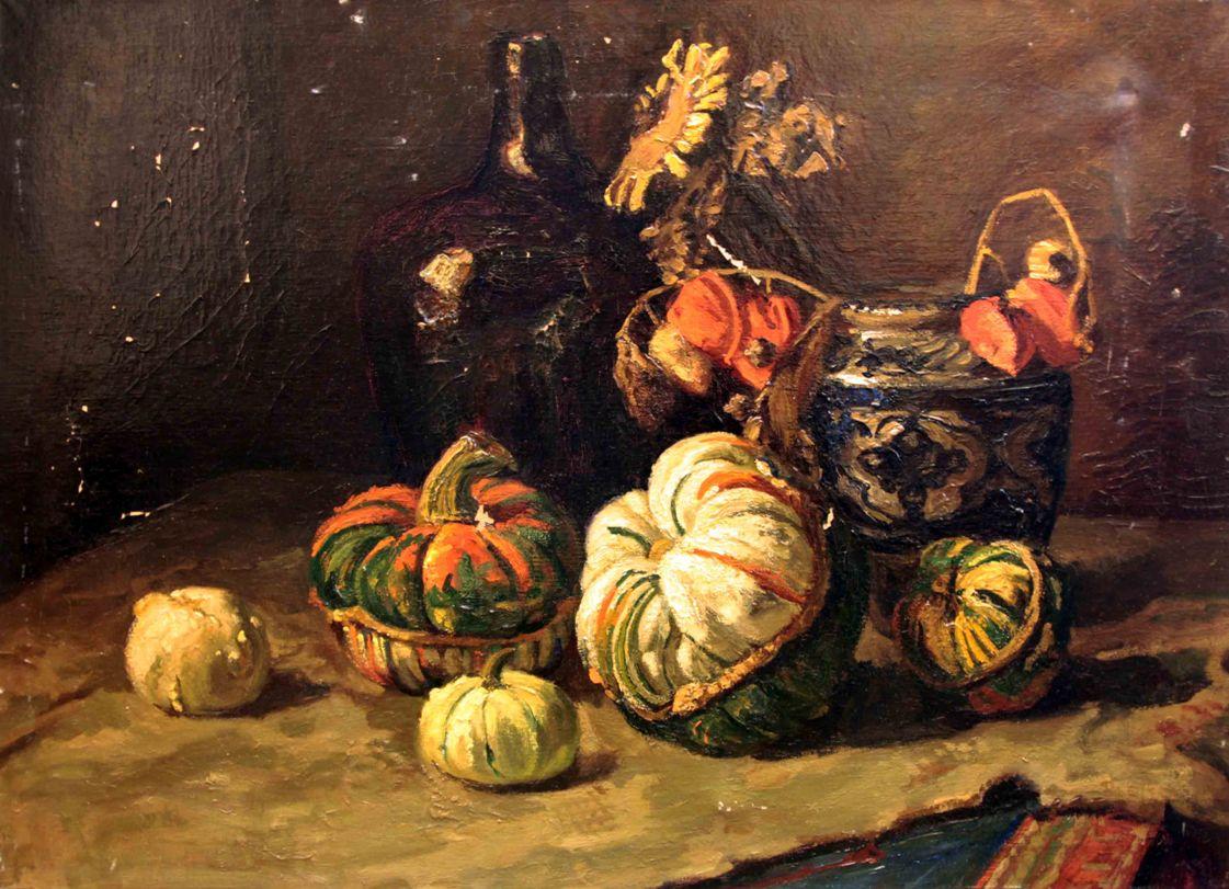 Старинный натюрморт ваза с тыквами. Западная Европа, конец 19 века.