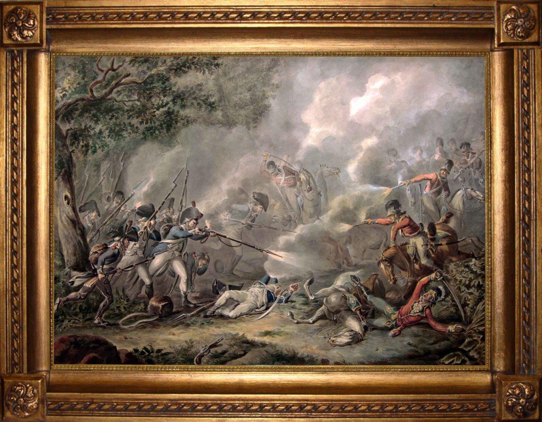Бой английской кавалерии с французской пехотой. Западная Европа, вторая половина 19 века.