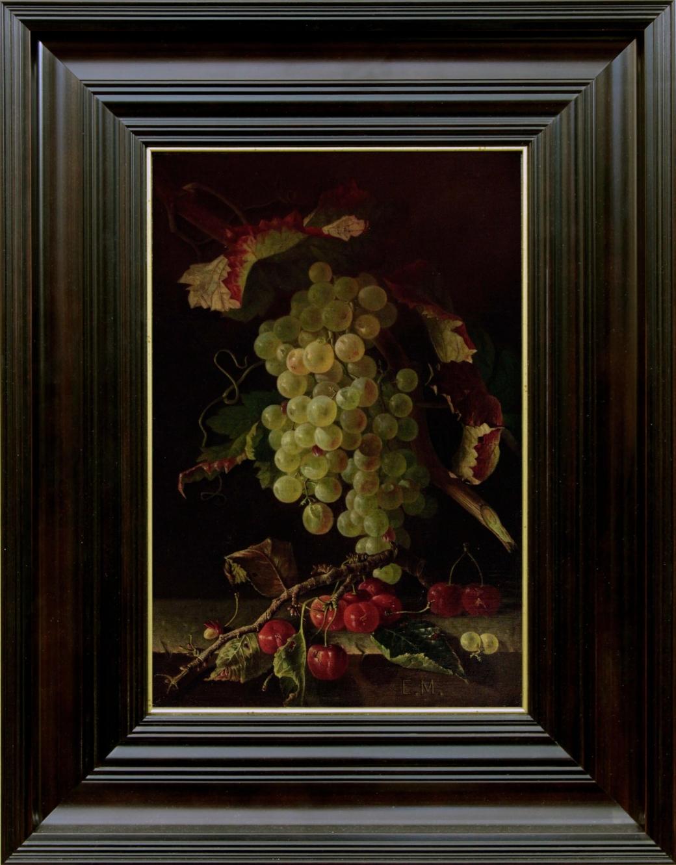 Старинный натюрморт с вишней и виноградом. Западная Европа, середина 19 века.