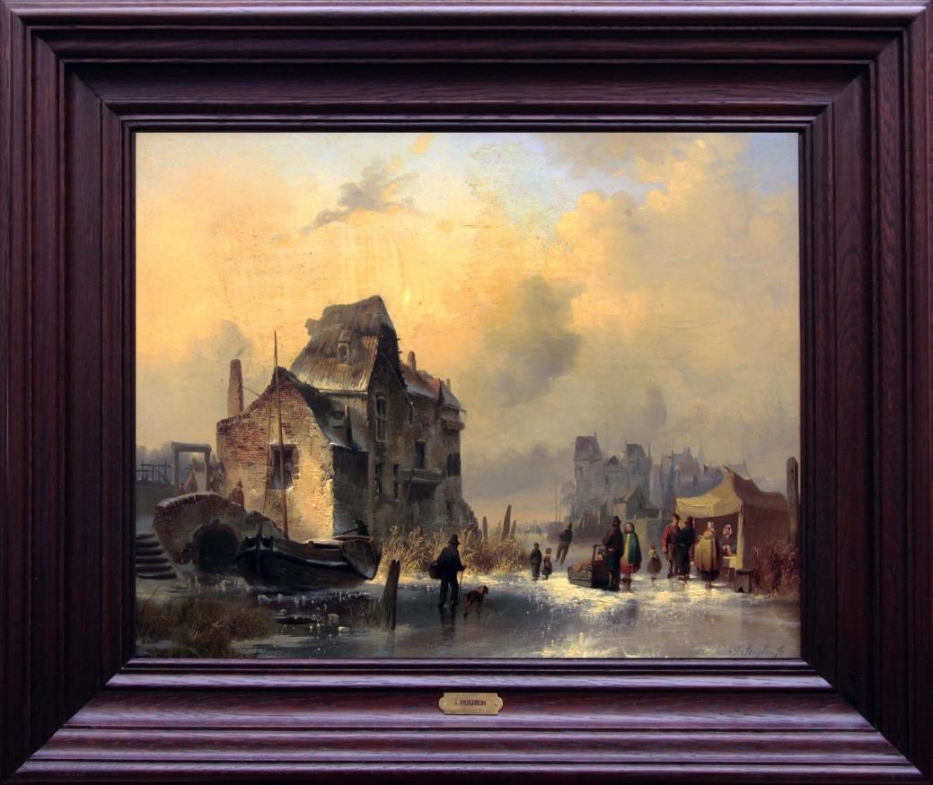 Голландский зимний пейзаж. Западная Европа, вторая половина 19 века.
