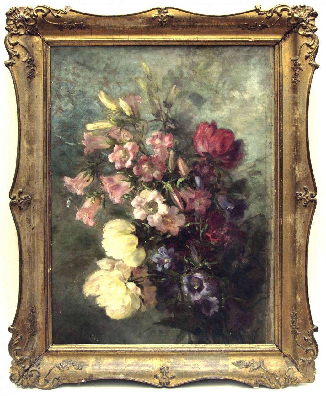 Старинный натюрморт: букет цветов. Западная Европа, конец 19 века.