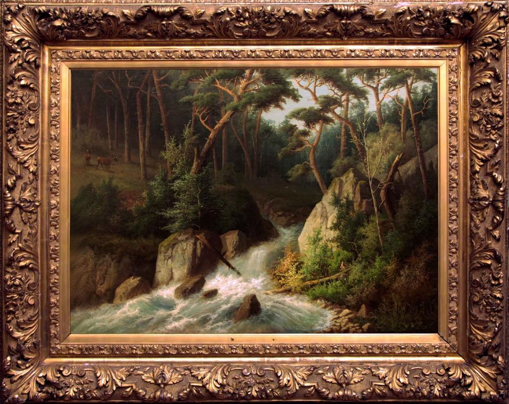 """Старинная картина: """"Лесной водопад"""". Западная Европа, конец 19 века."""