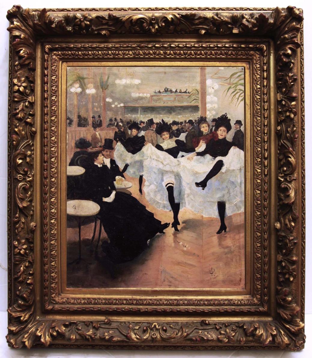 "Старинная картина: ""Канкан"". Западная Европа, начало 20 века."