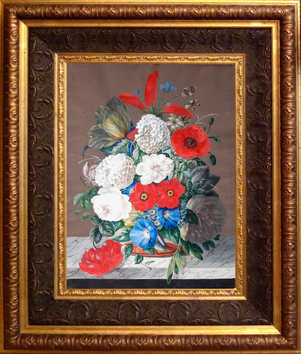 """Старинный натюрморт, """"Букет с маком"""", Западная Европа. Вторая треть 19-го века"""