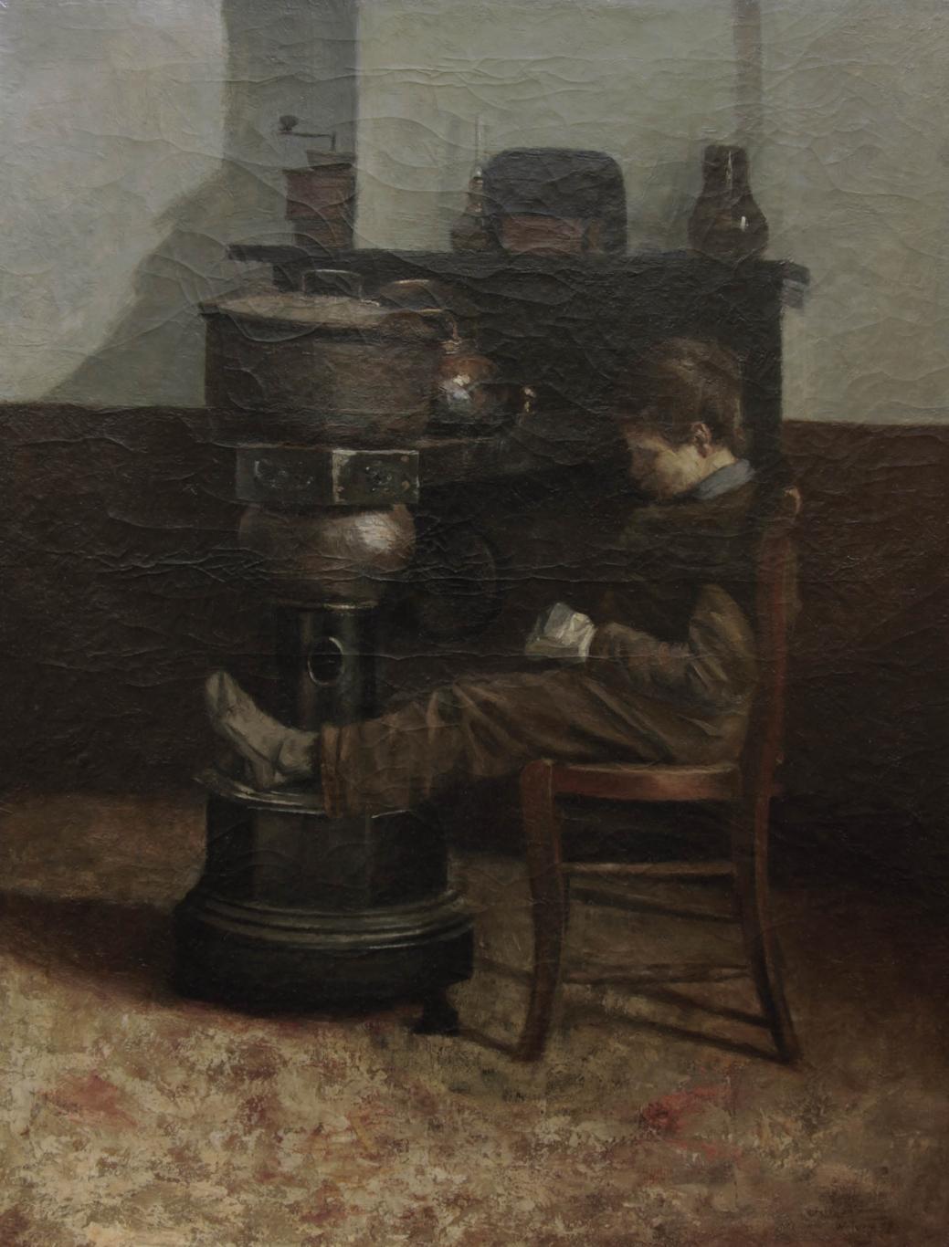 """Старинная картина: """"Мальчик у печки"""". Западная Европа, конец 19 века."""