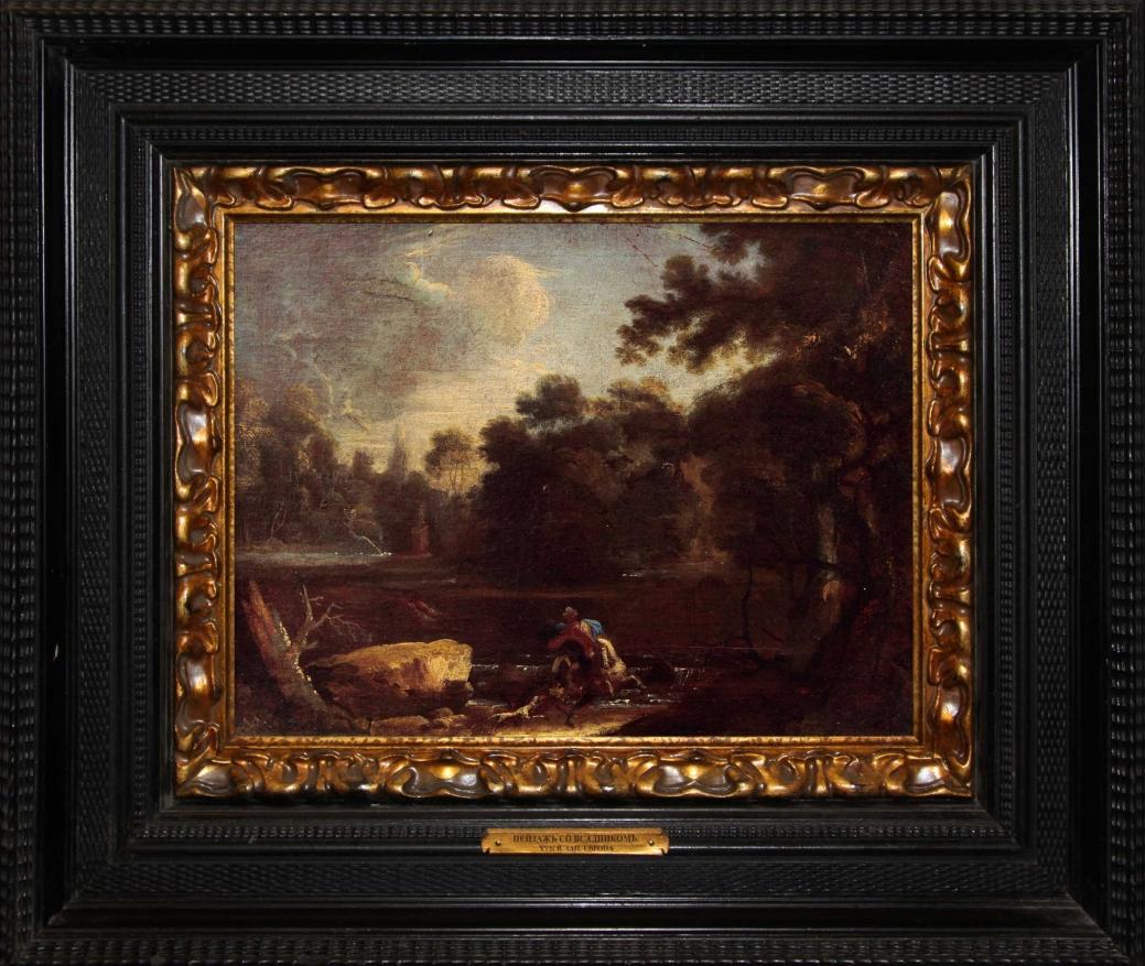 """Старинная картина: """"Пейзаж со всадником"""". Западная Европа, конец 17 века."""