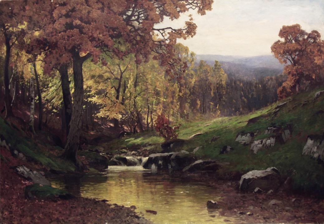 """Старинная картина: """" Осенний пейзаж"""". Западная Европа, начало 20 века."""