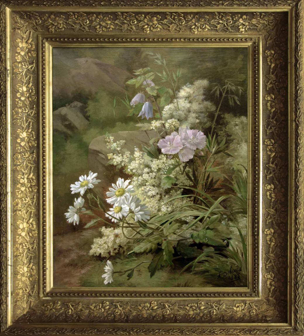 """Старинный натюрморт: """"Цветы"""". Западная Европа, 1885 год."""