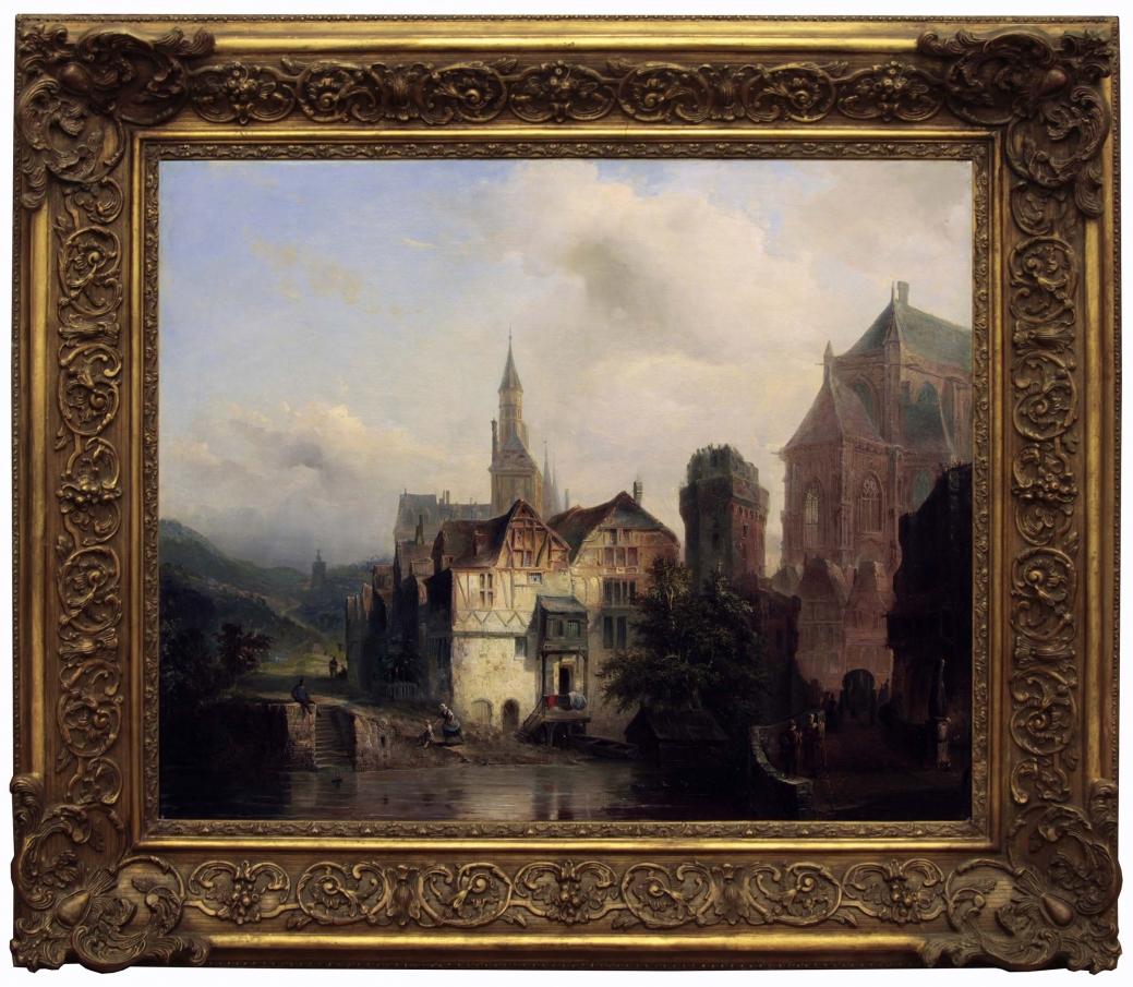 """Старинная картина: """" Городской пейзаж"""". Западная Европа, вторая половина 19 века."""