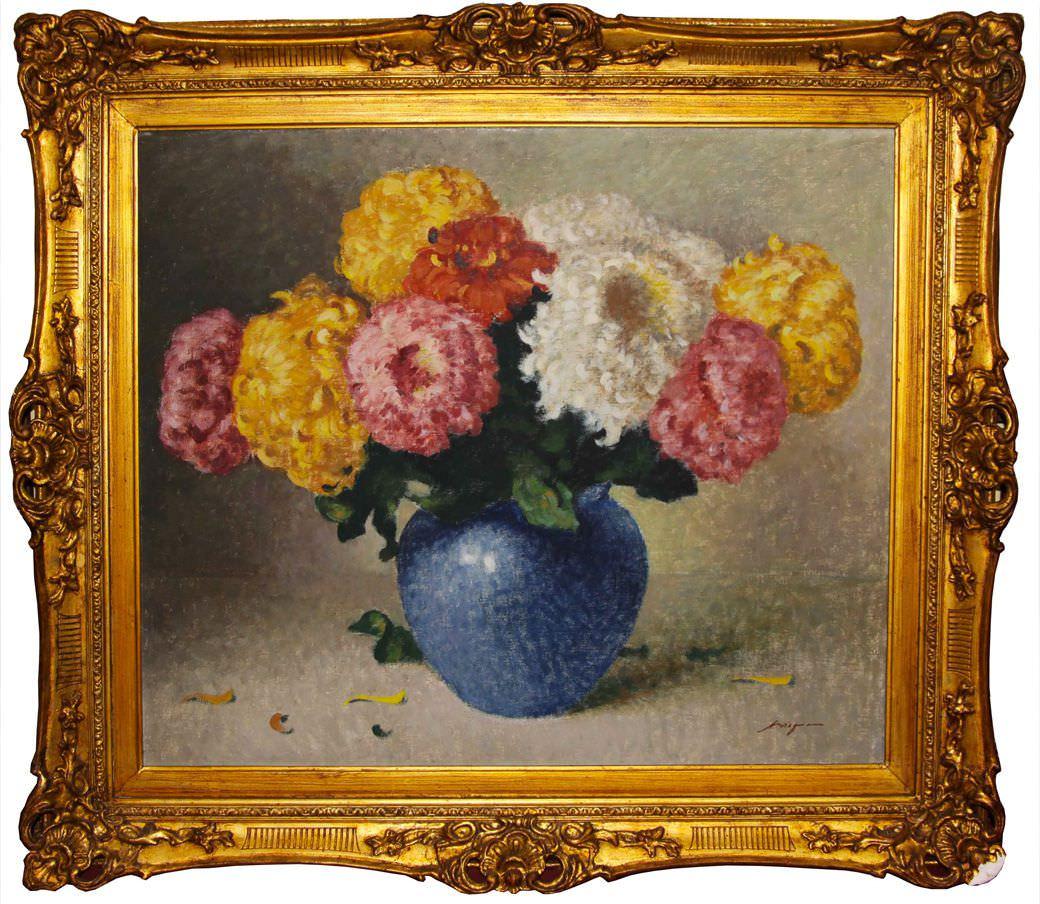 """Старинная картина: """" Букет хризантем"""". Западная Европа, первая половина 20 века."""