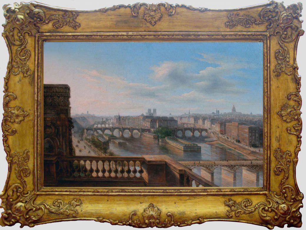 """Старинная картина: """" Панорама Парижа с видом на остров Сите"""". Западная Европа, 1840 год."""
