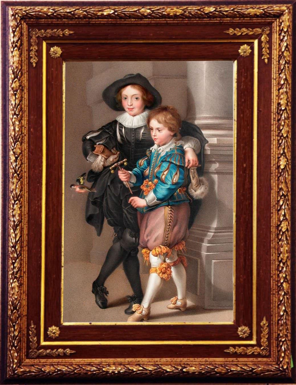 """Старинная акварель: """"Портрет детей художника"""" с картины Рубенса. Западная Европа, 1830-е годы."""