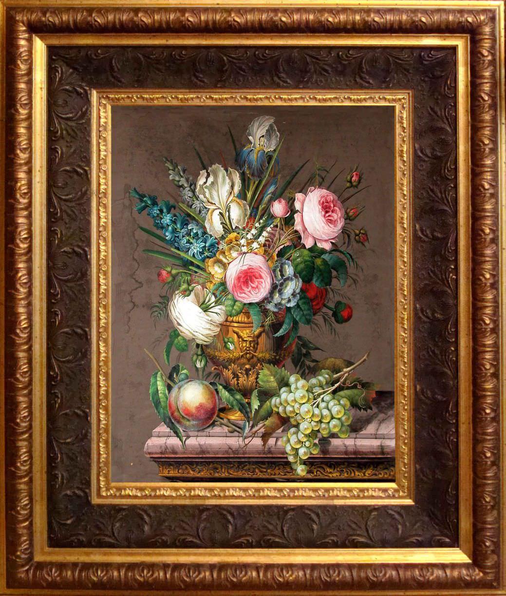 Старинный натюрморт « Букет с виноградом и персиком». Западная Европа, 1839 год.