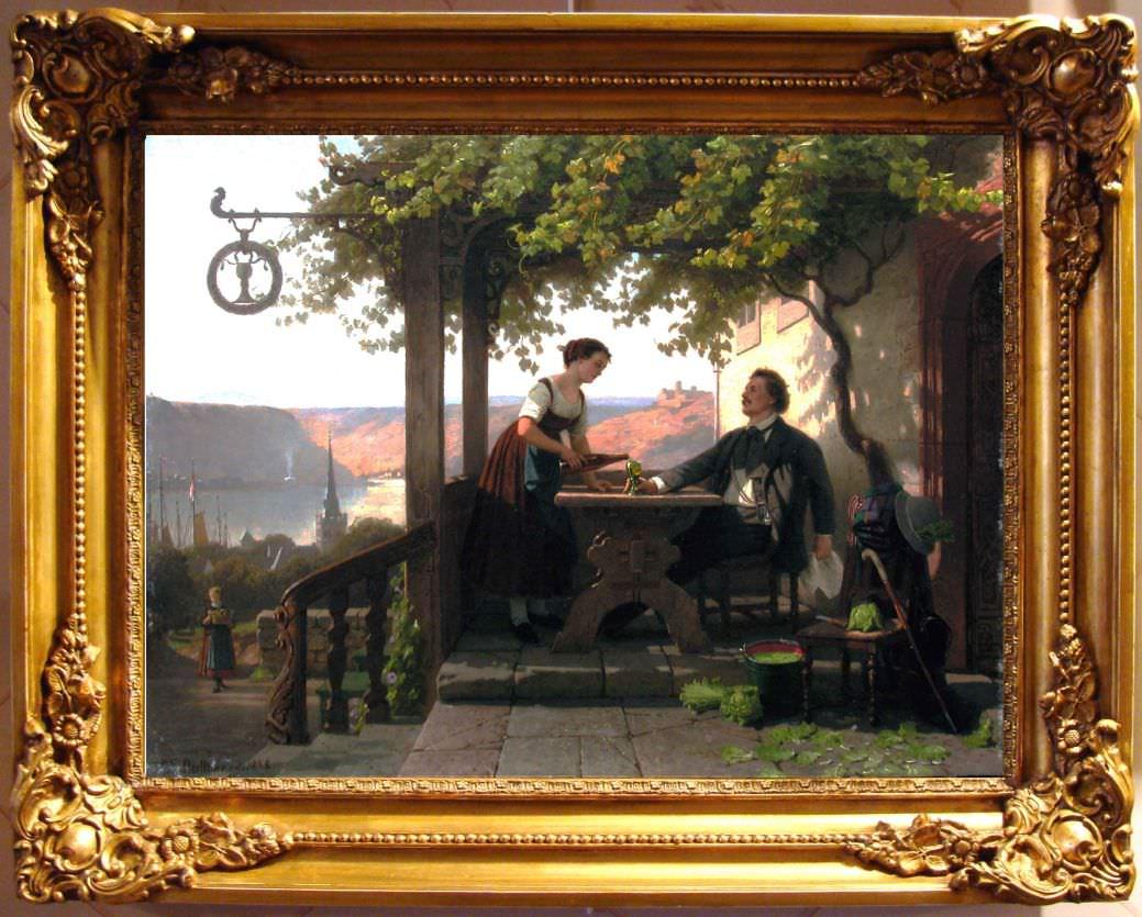 """Старинная картина: """" На веранде гостиницы"""". Западная Европа, 1878 год."""