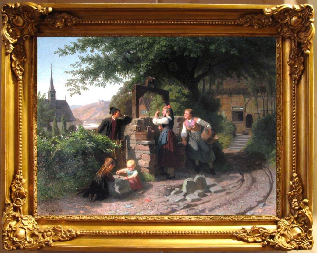 """Старинная картина: """" У колодца"""". Западная Европа, 1877 год."""