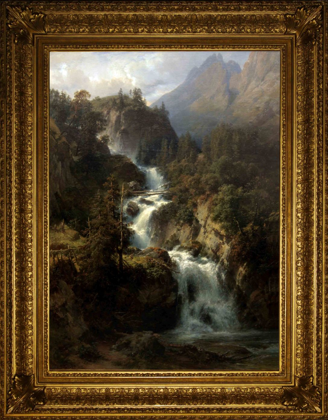 "Антикварная картина : ""Водопад в горах"". Западная Европа, 1852 год. Автор: Eduard Friedrich PAPE(1817-1905)"
