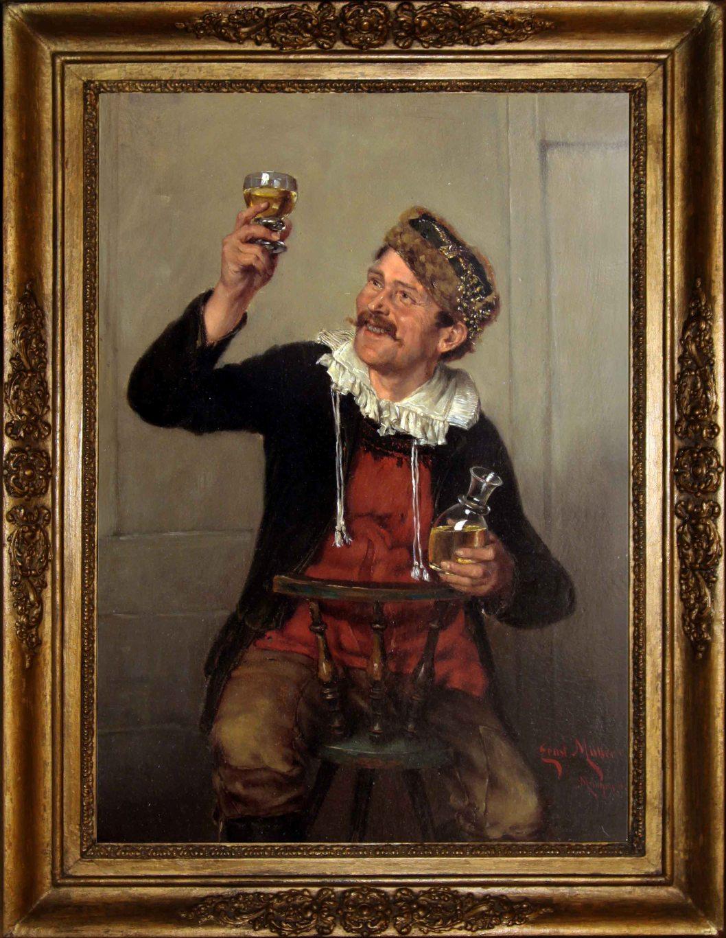 """Старинная картина: """" Проба вина"""". Западная Европа, конец 19 века. Автор: Ernst Emmanuel MÜLLER (1844-1915)"""