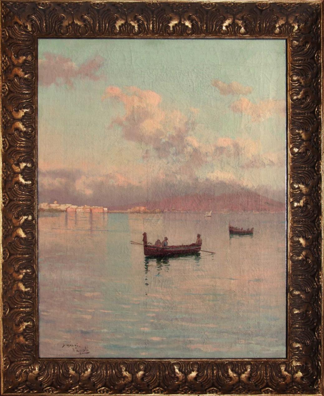 """Старинная картина: """" Лодка в Неаполитанском заливе"""". Западная Европа, конец 19 века Автор: Francesco Paolo DIODATI (1864-1940)"""
