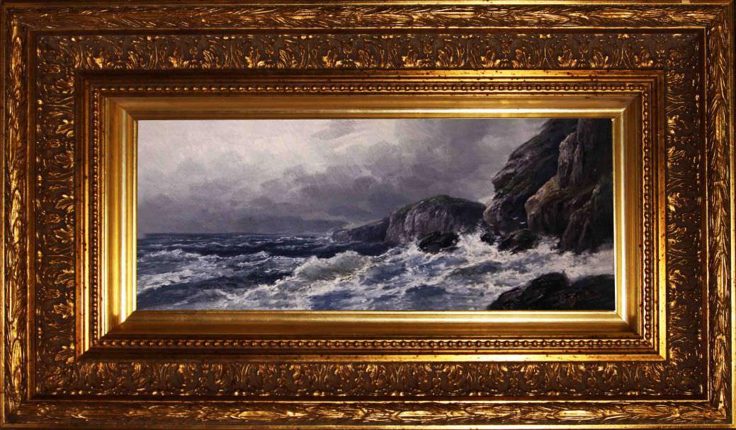 """Старинная картина: """" Корнуэльское побережье"""". Западная Европа, начало 20 века. Художник: G. Berlau,"""