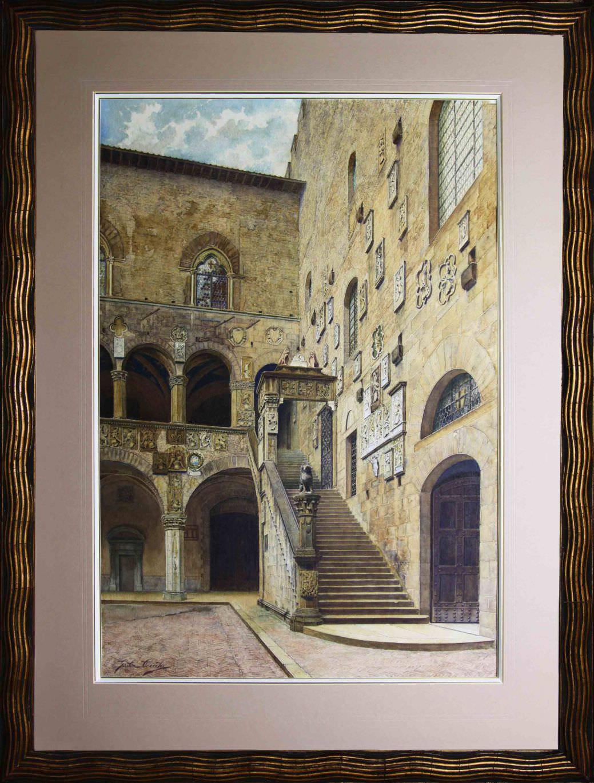 """Старинная картина: """" Внутренний двор палаццо Веккио во Флоренции"""". Западная Европа, последняя четверть 19 века Автор: Giulia CECCHI (XIX)"""