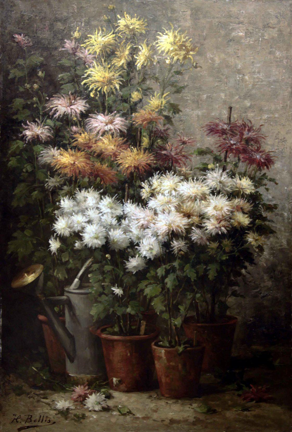 """Старинный натюрморт: """"Осенние цветы в горшках""""."""