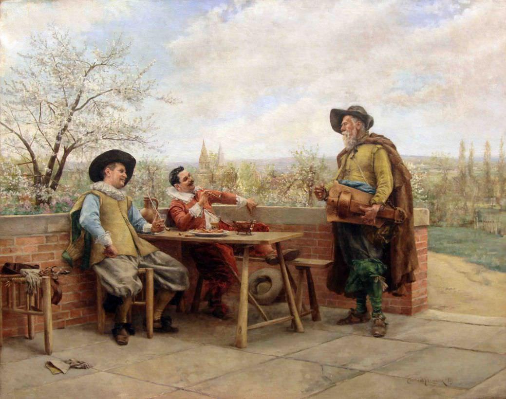 """Старинная картина: """" Шарманщик и мушкетёры""""."""
