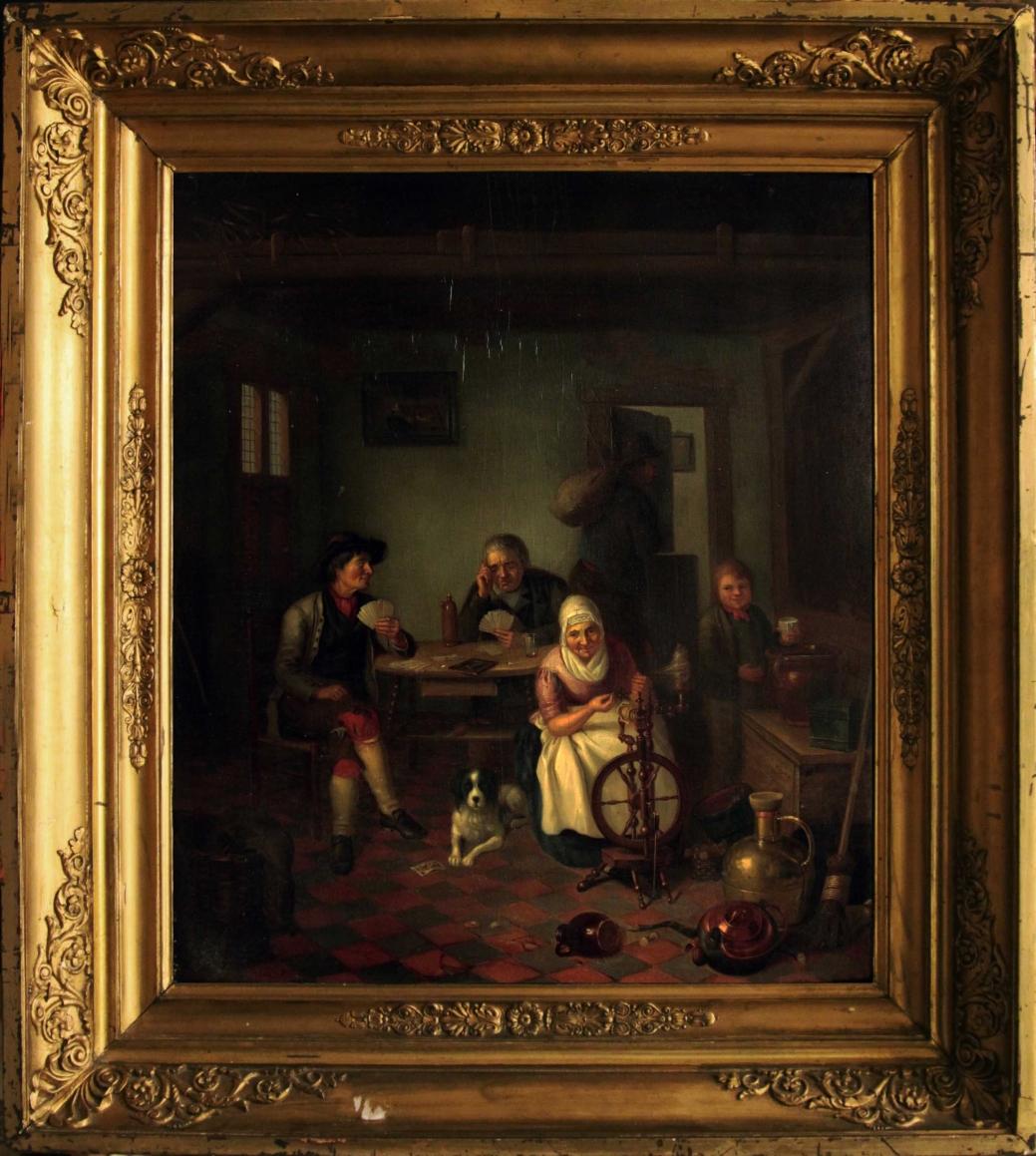 """Старинная картина: """"Голландская жанровая сцена"""". Западная Европа, первая половина 19 века."""