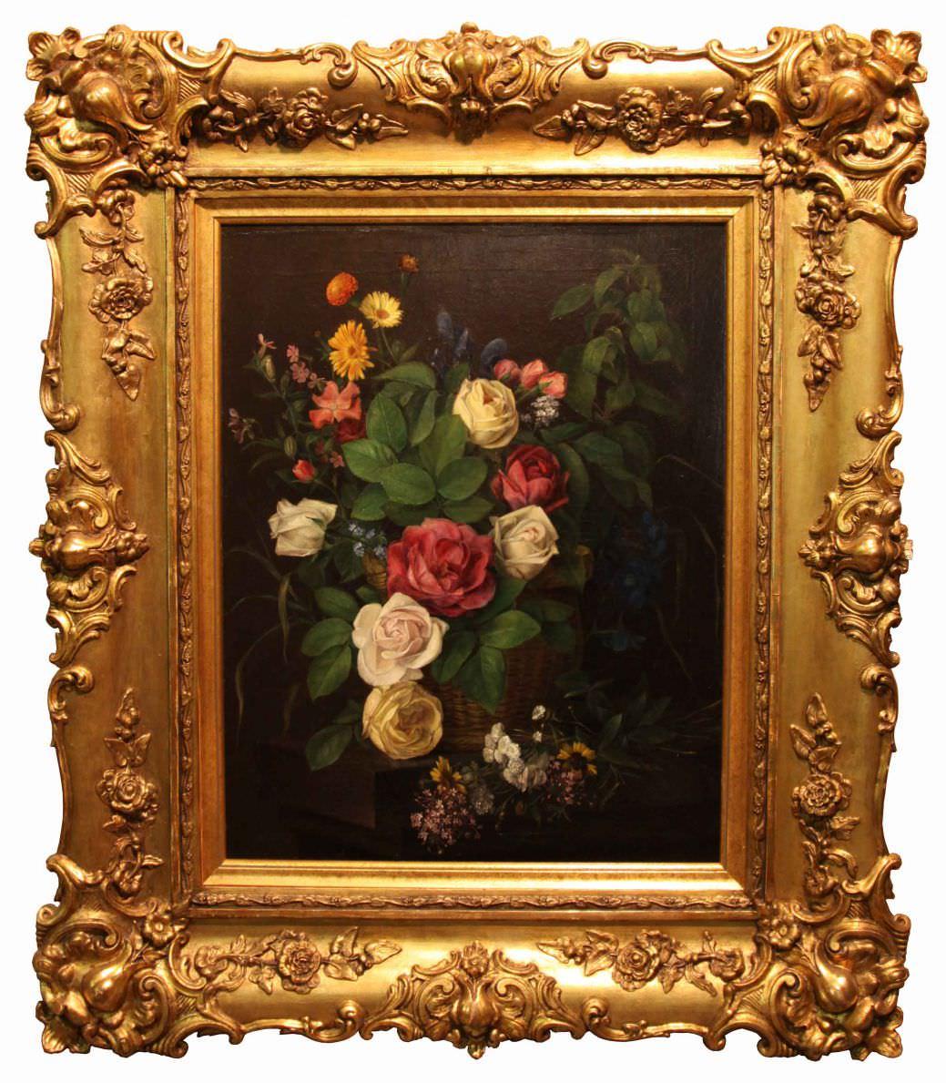 """Старинная картина: """"Натюрморт с розами"""". Западная Европа, 1877 г.Автор: Mansfeld Franz (XIX)"""