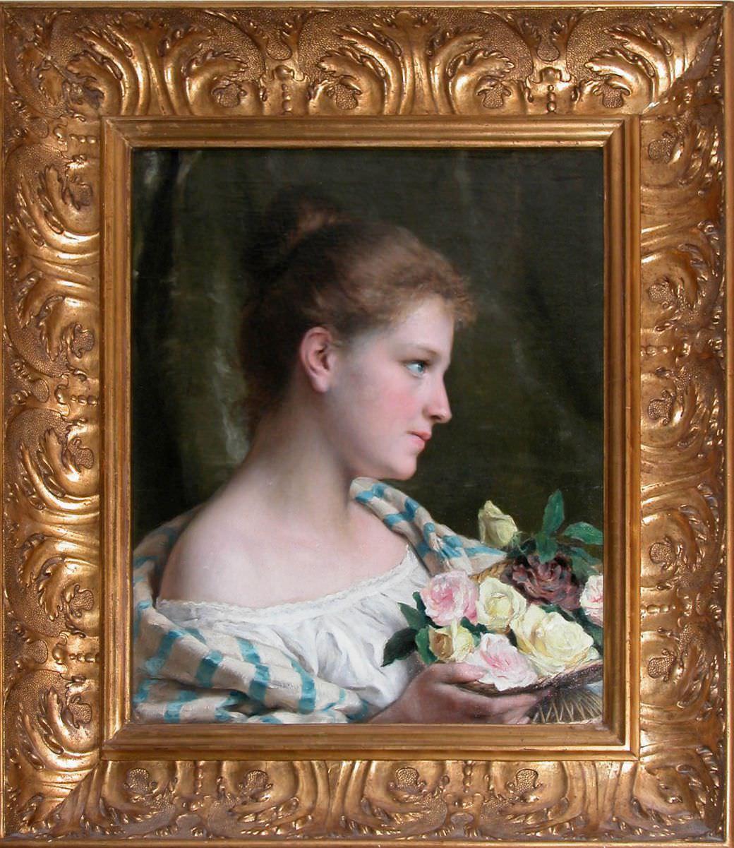Девушка с картиной роз.