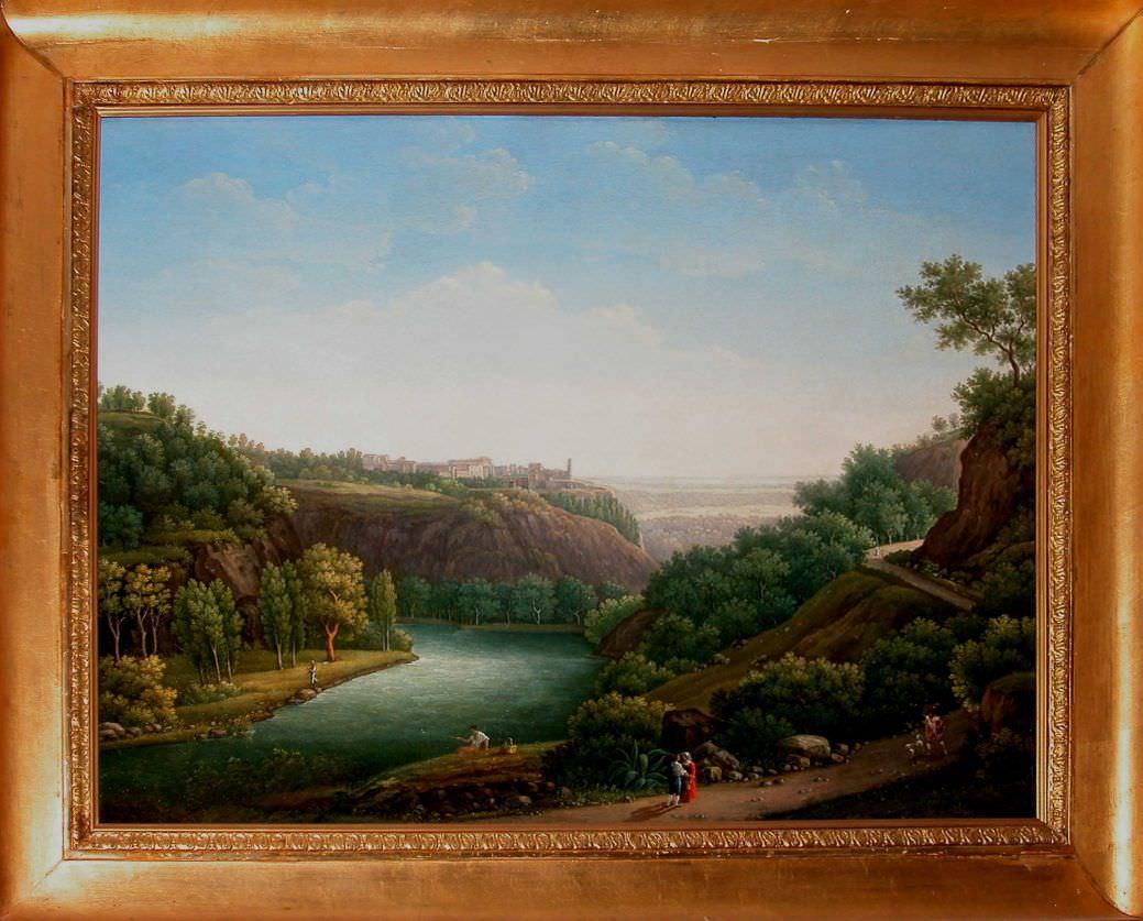 """Старинная картина: """" Итальянский пейзаж с рекой"""". Западная Европа, 1835-й год. Автор: Segarelli.V (XIX)"""