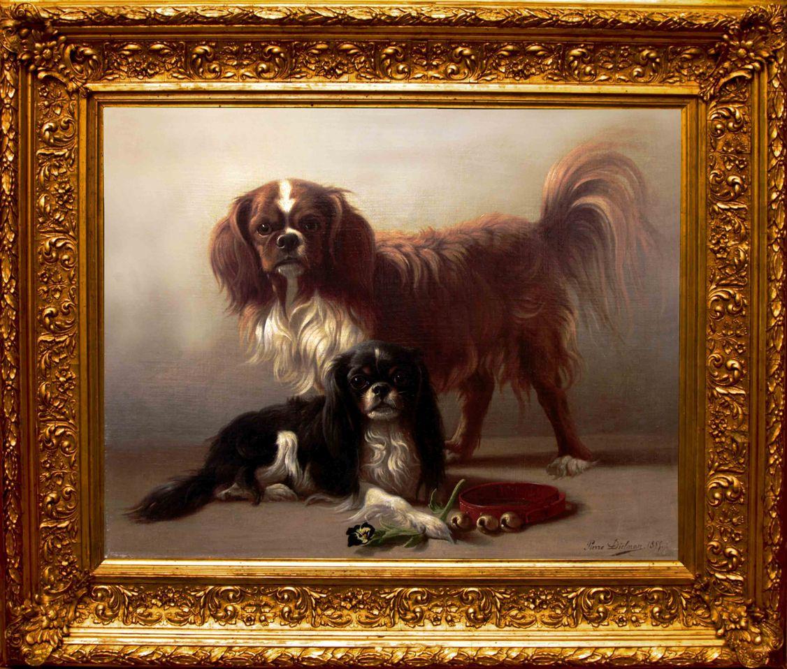 """Старинная картина: """" Собачки"""". Западная Европа, 1899-й г. Автор: Pierre DIELMAN (1829-1902)"""